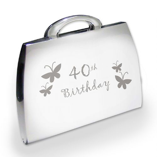 Personalised 40th Butterfly Handbag Compact